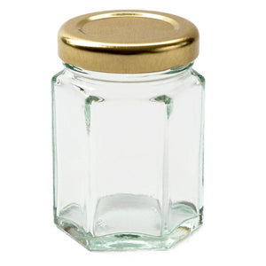 Nutley's 110ml Hexagonal Glass Jam Jars gold silver lids preserves chutneys pickles
