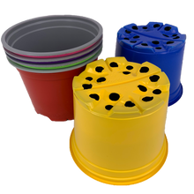 Load image into Gallery viewer, Nutley's 12cm Round Coloured Plastic Plant Pots Red Blue Yellow Green Pink Purple