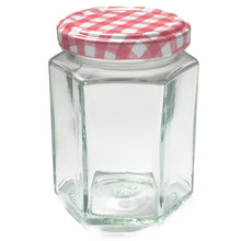 Load image into Gallery viewer, Nutley's 8oz Hexagonal Jam Jar Red Gingham