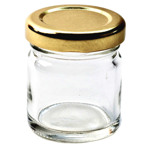 Nutley's Small Glass Jam Chutney Marmalade Jars 42ml (1.5oz) Silver Lids