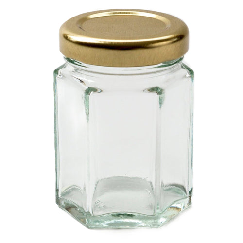 Nutley's 55ml Hexagonal Jars Silver Gold Screw Cap Lids Vinegar Proof Lids Wedding Favours Chutney Jams Sweets