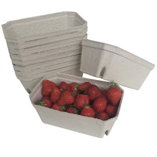 Load image into Gallery viewer, Nutley's fruit punnets fibre biodegradable compostable recycled 500g Fill with strawberries, raspberries, blackberries, cherries, plums, beans, peas, hazelnuts, cobnuts and more