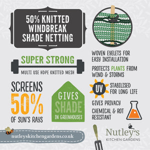 Nutley's 50% Horticultral Windbreak Shade Netting Super Strong UV Stabilised with Eyelets