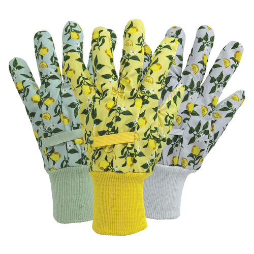 Briers Triple Pack Cotton Ladies Gloves in Sicilian Lemon: Green, Yellow, Lilac