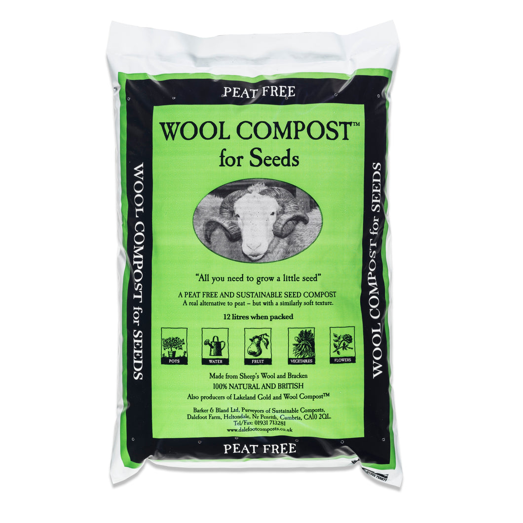 Dalefoot fine wool seed compost peat free nutrient rich from Lake District 12 litre bags Peat Free Compost