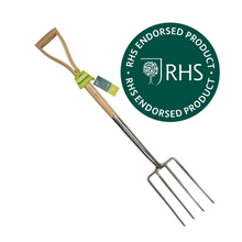 Load image into Gallery viewer, Burgon & Ball Hardwood Digging Fork RHS Endorsed FSC Wood Handle 100kg Strain