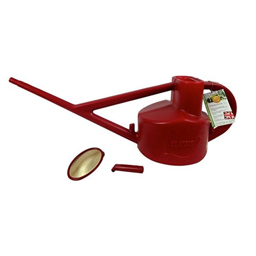 Haws 5-Litre Long-Reach Outdoor Watering Can + rose & spout red