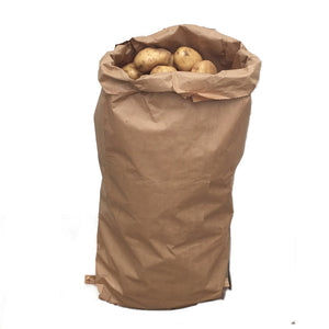 Nutley's paper potato sacks 25kg stitched bottom 3-ply plain harvest store vegetables