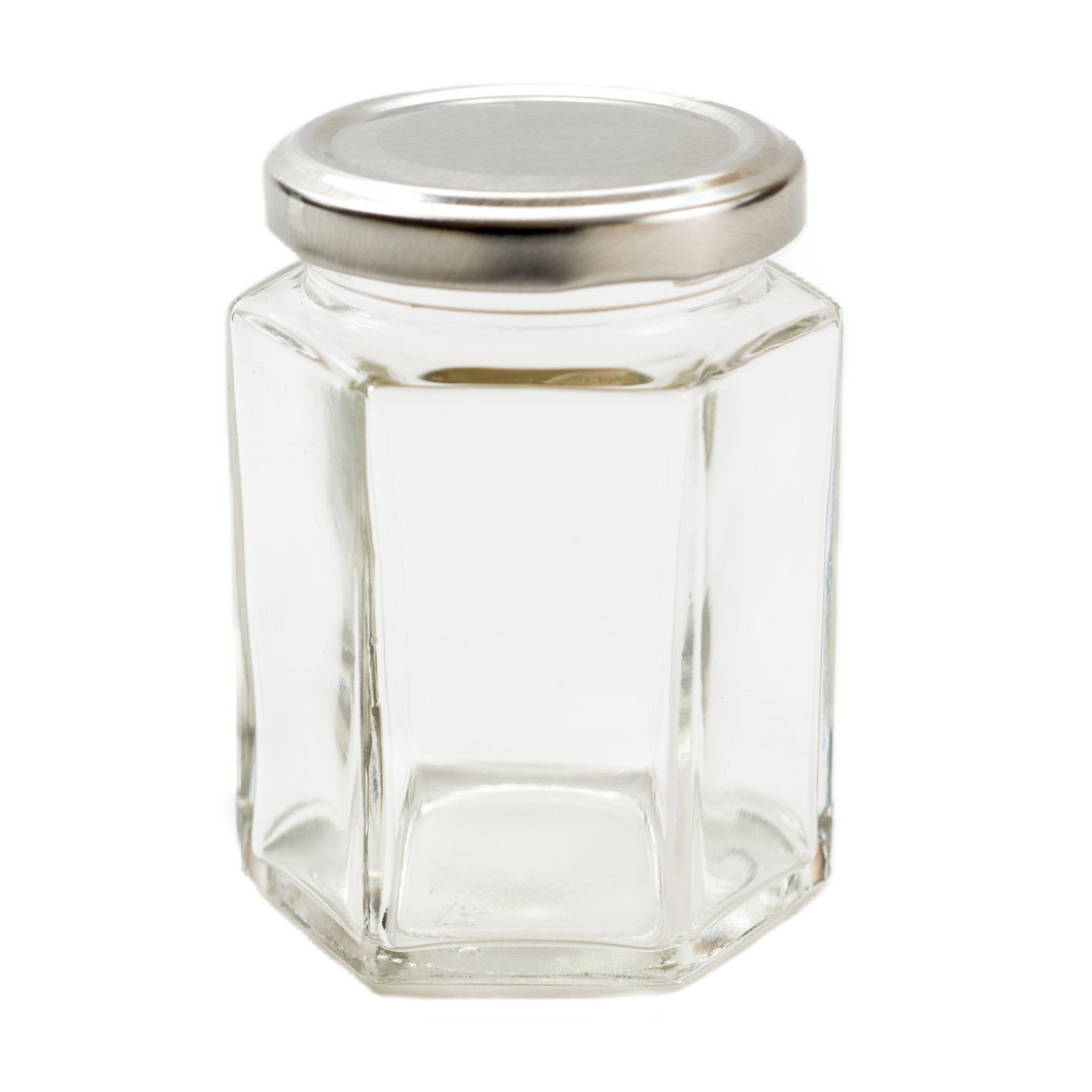 Nutley's 55ml Hexagonal Jars (Pack of 20) with Silver Screw Top Lids & Label Option