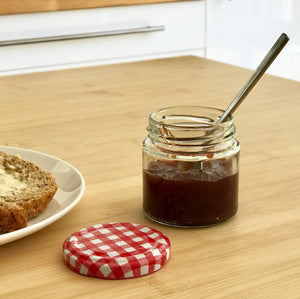 Nutley's 125ml Round Jar with pickle inside and red gingham lid