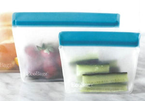 Zeal Clear Blue seal 125ml EcoBagz (pack of 2) BPA Free  100% PEVA Eco-friendly Reusable Durable Dishwasher Safe Freezer Safe Sustainable Pantry Organisation  Home Organisation  Easy to clean Reusable sandwich bags Ziplock bags Leak Proof storage bags Reusable snack bags Thick bags for freezing Bags for lunchbox Reusable fruit bags Bags for meal preparation