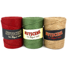 Load image into Gallery viewer, 90m Nutscene thick chunky garden twine string 100% hessian jute 3 colours Red Green Natural
