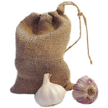 Load image into Gallery viewer, Nutley's Small Hessian Drawstring Garlic Bag Sack 14cm x 20cm keep bulbs fresher longer