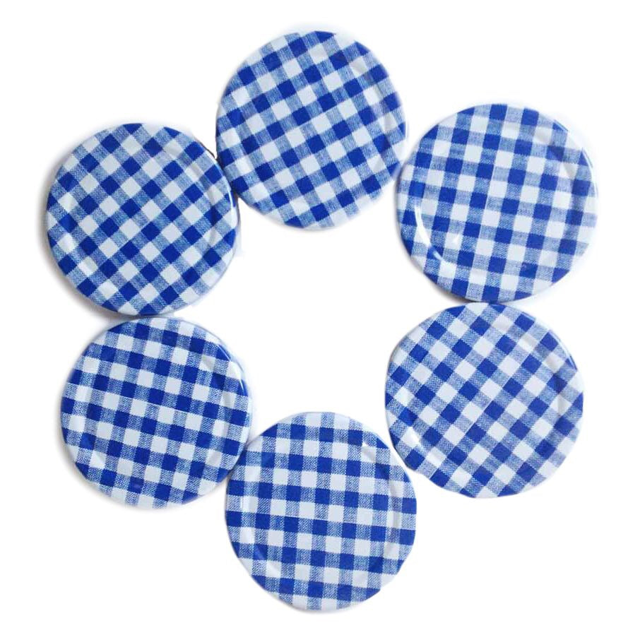 Lids for Jam Jars, 63mm diameter fits 190ml jars blue gingham