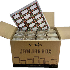 Nutley's 190ml Round Jam Jar Box: Select Lid Colour and Self-Adhesive Label Design