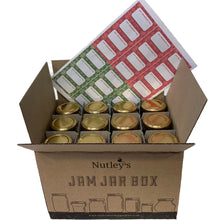 Load image into Gallery viewer, Nutley's 8oz Hexagonal 24 Jam Jar Box Special Gold Snowflake