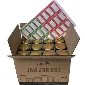 Nutley's 8oz Hexagonal 24 Jam Jar Box Special Gold Snowflake