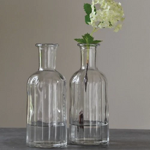 Load image into Gallery viewer, Grand Illusions Ripple Glass Bottle Flower Vase Juice Water Wine. Lovely fluted glass bottles for your home-made drinks and cordials, or as a vase for your allotment or garden flowers. With a very decorative rippled glass body and elegantly shaped neck