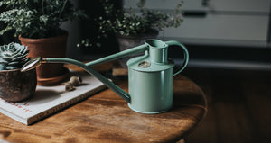 Haws 2 Pints Rowley Ripple Metal Watering Can Steel Indoor Use Rose Included - Sage Green [165-2-SAG]
