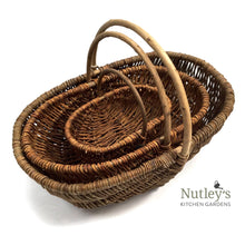 Load image into Gallery viewer, Nutley's Large Beautiful Hand-Made Rustic Willow Garden Trug Basket wicker trug rustic basket basket with handle biodegradable