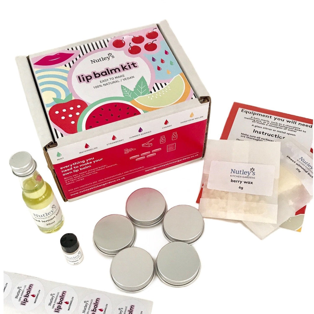 Nutley's Make Your Own Lip Balm Kit DIY Natural No Beeswax Homemade Organic Strawberry Flavour Mint Flavour Cherry Flavour Honeydew Melon Flavour Summer Berries Flavour Watermelon Flavour Lip Treatments
