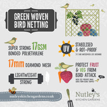 Load image into Gallery viewer, Nutley's 2m Wide Green Woven Bird Netting Lightweight Strong Pond Fruit Cages UV Resistant