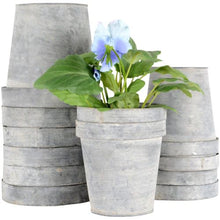 Load image into Gallery viewer, Grand Illusions Zinc Garden Plant Flower Pots 2 Sizes. Rustic style zinc flower pot holders in the iconic plant pot shape. These traditionally shaped metal pots will add a little rustic charm to your garden and complement the greens of the plants beautifully. Great for flowers and kitchen herbs such as chive, parsley, basil and sage. Durable and weatherproof, the zinc is galvanized to help prevent rust. Without drainage holes.