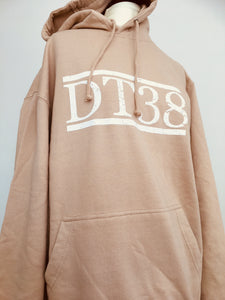 Fawn Hoodie with Distressed White DT38 Logo