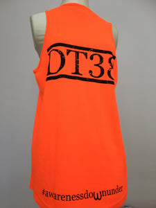 Orange Running Vest with Distressed Black DT38 Logo