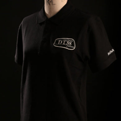 Polo Shirt - Black with White DT38 Logo