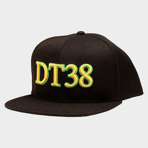 DT38 Snapback Cap - Black with Green and Gold