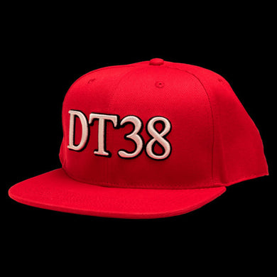 DT38 Snapback Cap - Red with White and Black