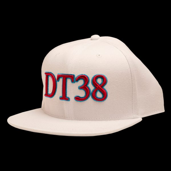 DT38 Snapback Cap - White with Claret and Blue