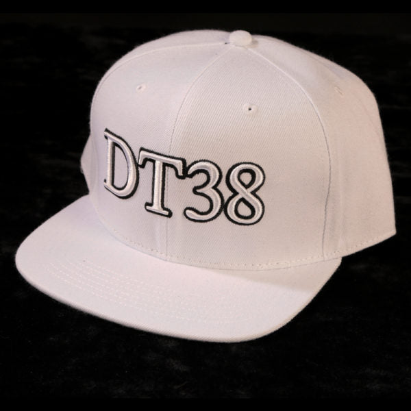 DT38 Snapback Cap - White with Black and White