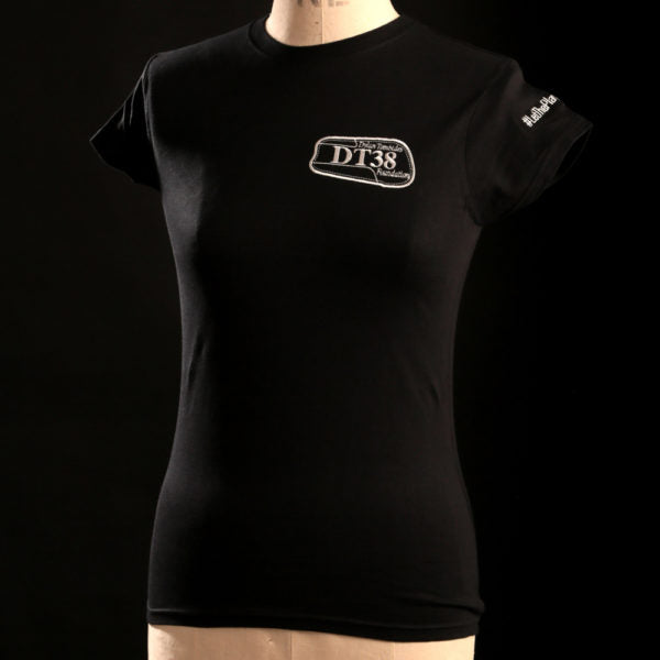 Ladies T-Shirt - Black with White DT38 Logo