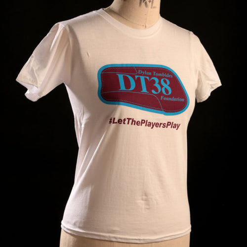 T-Shirt - White with Claret and Blue DT38 Shinpad Logo