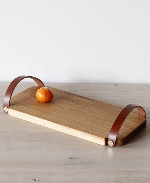 Large Fitler Leather Handle Tray