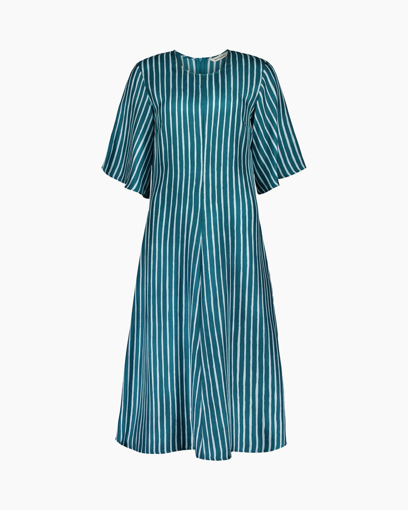 Marimekko Bell Sleeved A-Line Dress with Turquoise Vertical Stripes