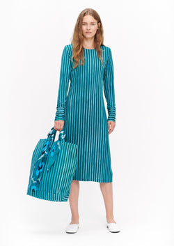 Marimekko Turquoise A-line Vertical Striped Long Sleeved Marimekko Dress Aihelma Ristipiccolo
