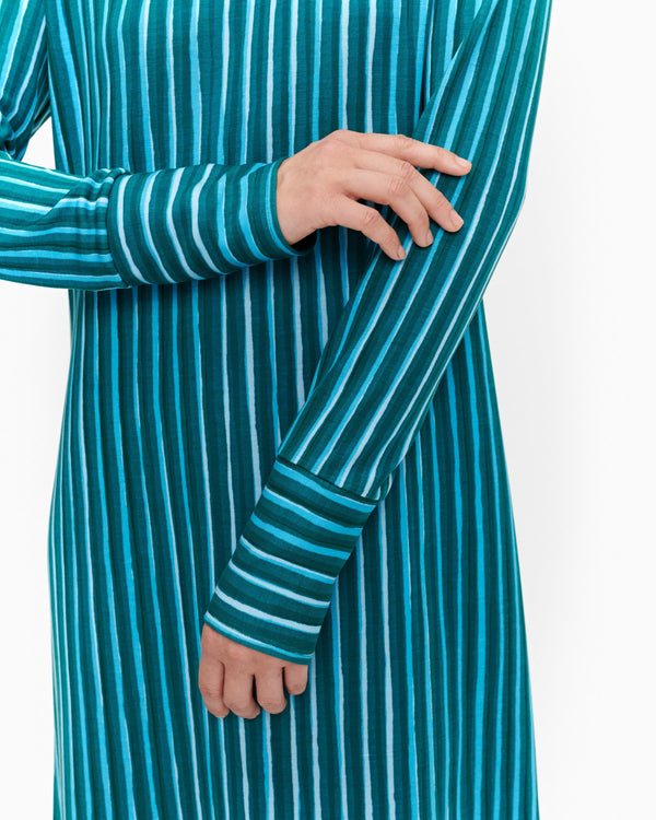 Turquoise A-line Vertical Striped Long Sleeved Marimekko Dress