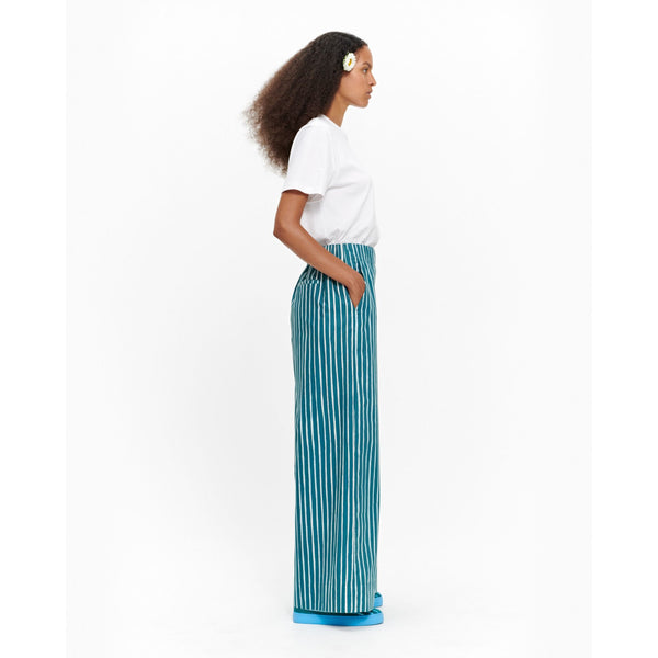 Marimekko Wide leg cotton poplin striped pant trouser with elastic waist