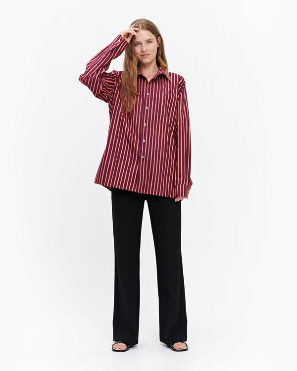 Jokapoika Mens Womens Unisex Striped Marimekko Button down Shirt with Silver Button Details