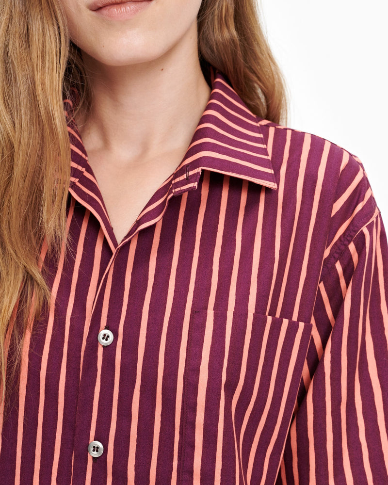 Striped Marimekko Button down Shirt with Silver Button Details