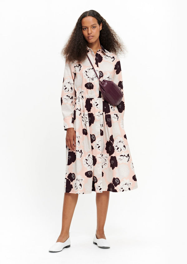 Marimekko Summer Shirt Dress with Peach, White and Burgundy Floral Pattern