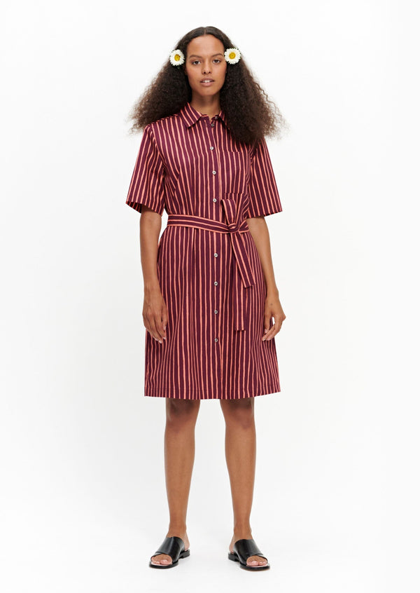 Striped Marimekko short-sleeved Palsta button-up dress is made of cotton in the Piccolo pattern.