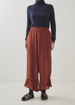 Silk Frill Solid Trousers