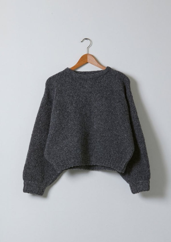 Atelier Delphine Balloon Sleeve Sweater Charcoal Baby Alpaca