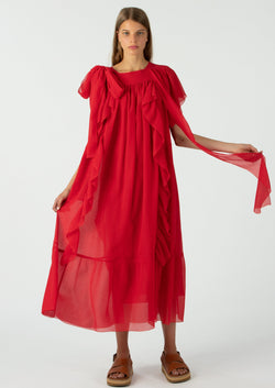 Sofie D'Hoore Strawberry Red Ruffle Dress