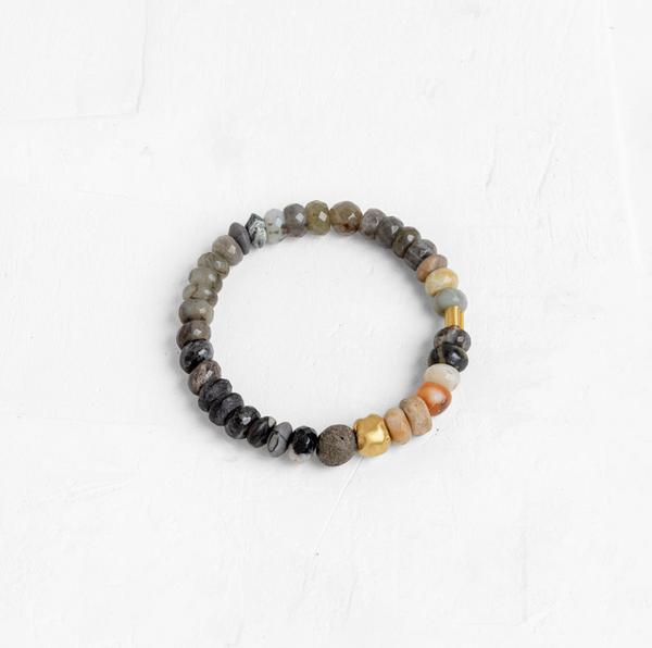 Gemstone Bracelet With a 24K Wrapped Stone