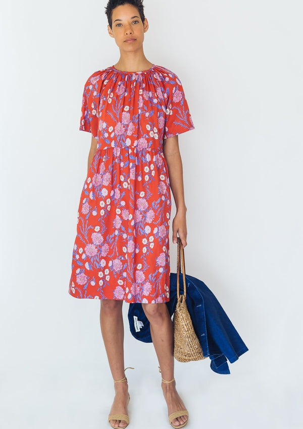 Caron Callahan Amelia Dress Cotton Voile Red Floral
